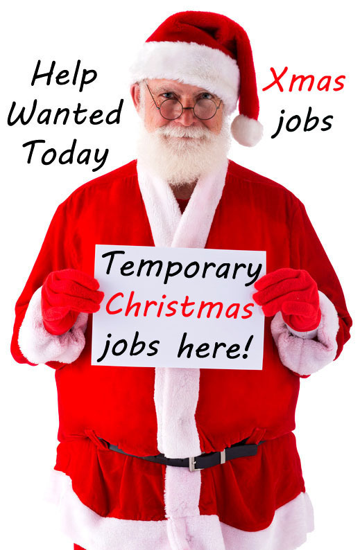 Father Christmas holding sign for part time jobs for the Christmas period