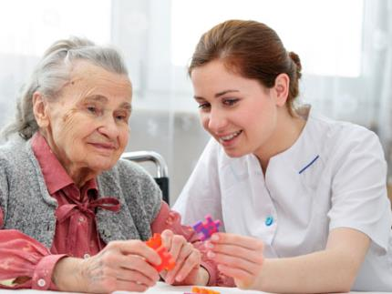 Social care worker looking after the elderly