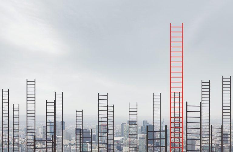 career ladders in sky concept
