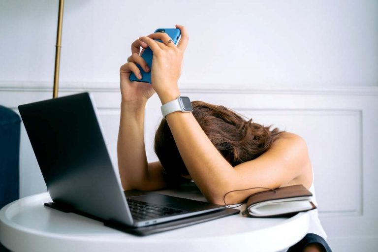 Woman struggling with job hunting burnout