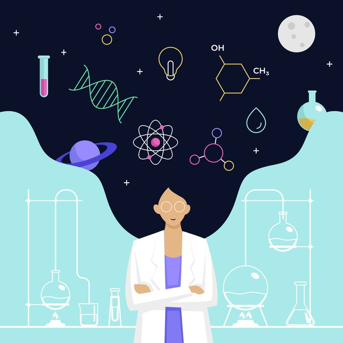 Science jobs Female,Scientist,Head,With,Long,Hair,Thinking,About,Complex,Science