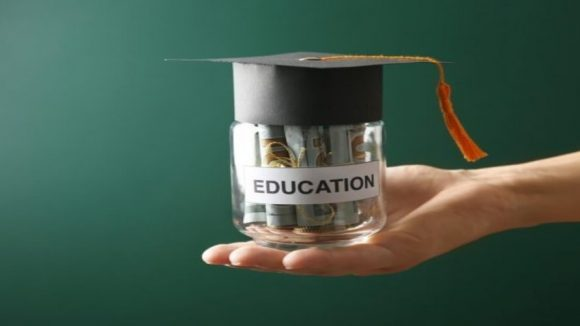 university fees for education in a glass jar